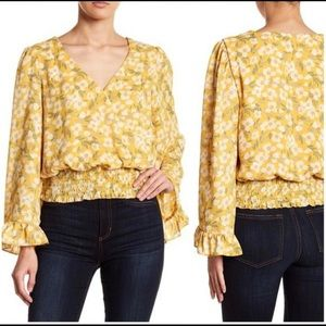 june & hudson   yellow floral smocked waist top